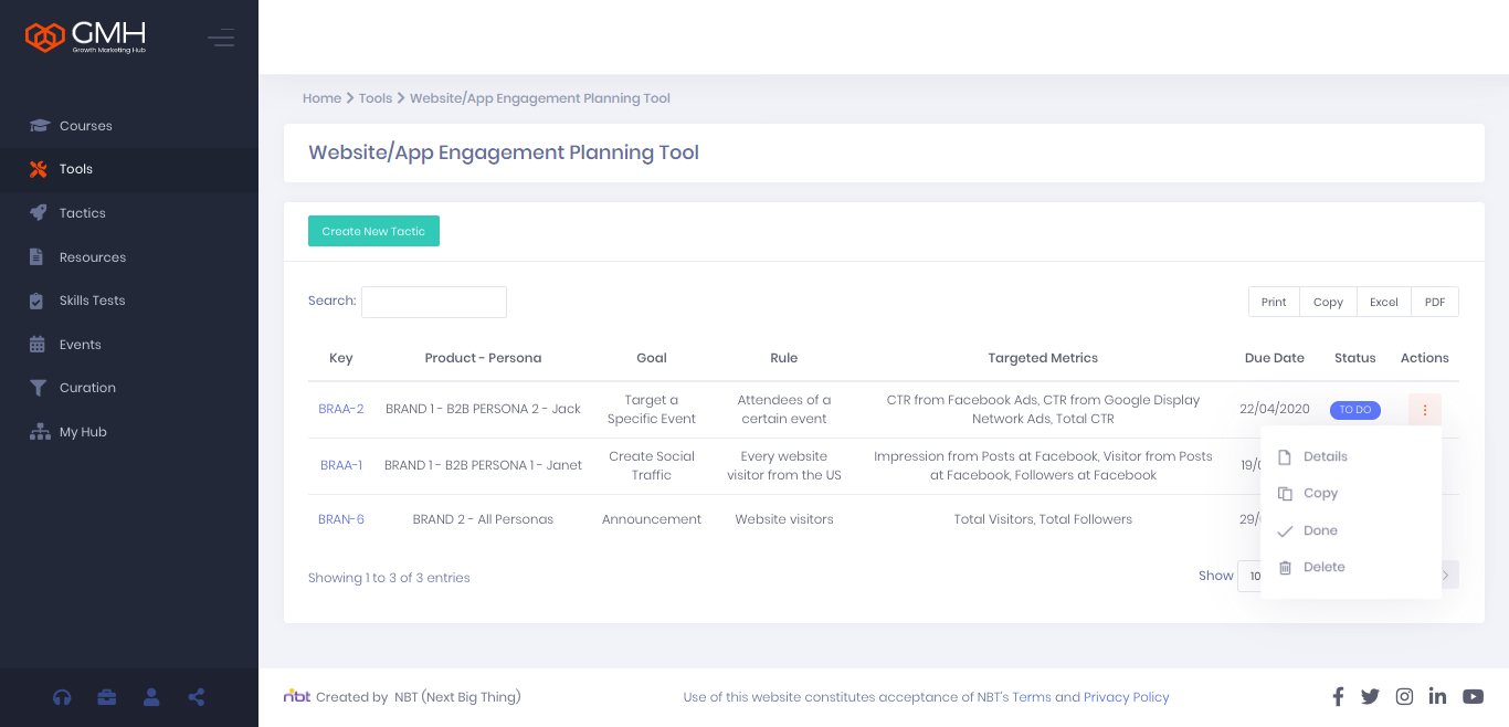 website app engagement planning
